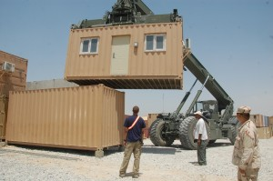 Stacking office containers at 401st Army Field Support Brigade