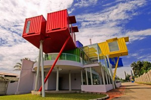 Image of a shipping container library in Indonesia
