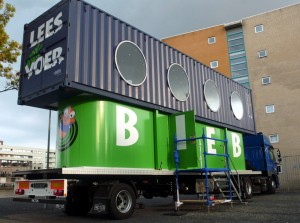 Image of a Dutch shipping container library