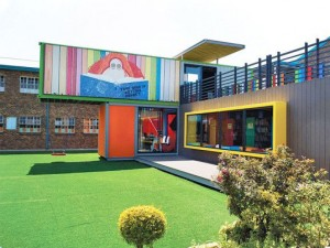 Image of a shipping container library in Johannesburg South Africa