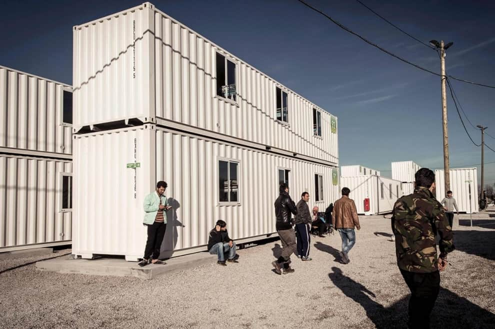shipping container homes for refugees in Calais