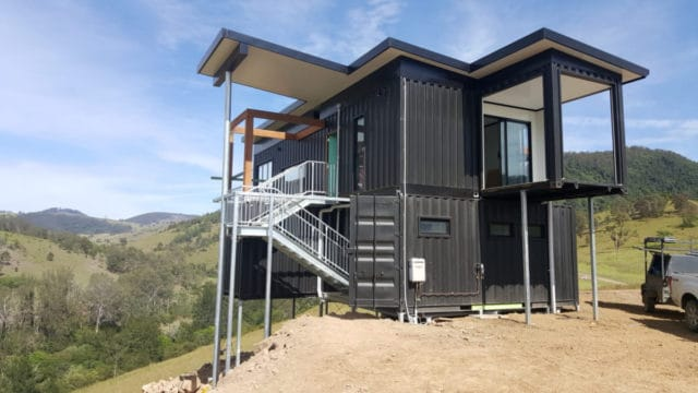 Gloucester off-grid container holiday home built
